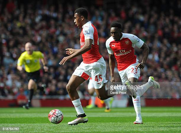 Alex Iwobi of Arsenal during the Barclays Premier League match between Arsenal and Watford at Emirates Stadium on April 2nd 2016 in London England