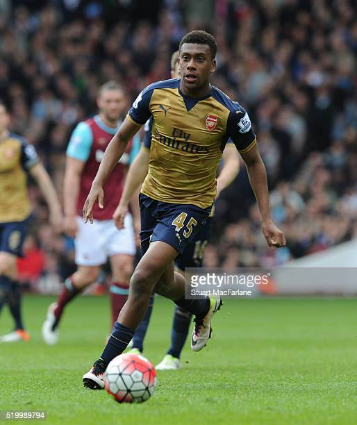 Alex Iwobi of Arsenal during the Barclays Premier League match between West Ham United and Arsenal at the Boleyn Ground on April 9 2016 in London...
