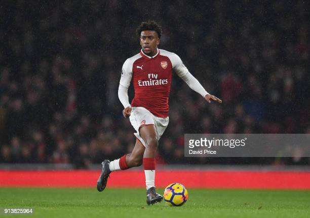 Alex Iwobi of Arsenal during the match the Premier League match between Arsenal and Everton at Emirates Stadium on February 3 2018 in London England