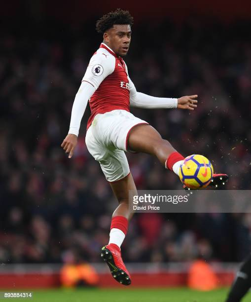 Alex Iwobi of Arsenal during the Premier League match between Arsenal and Newcastle United at Emirates Stadium on December 16 2017 in London England