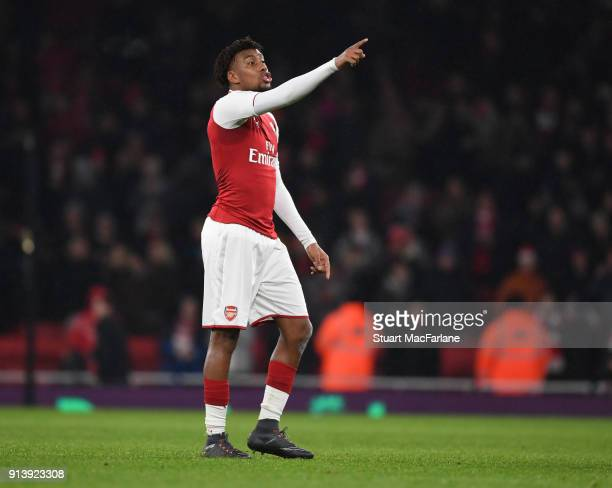 Alex Iwobi of Arsenal during the Premier League match between Arsenal and Everton at Emirates Stadium on February 3 2018 in London England