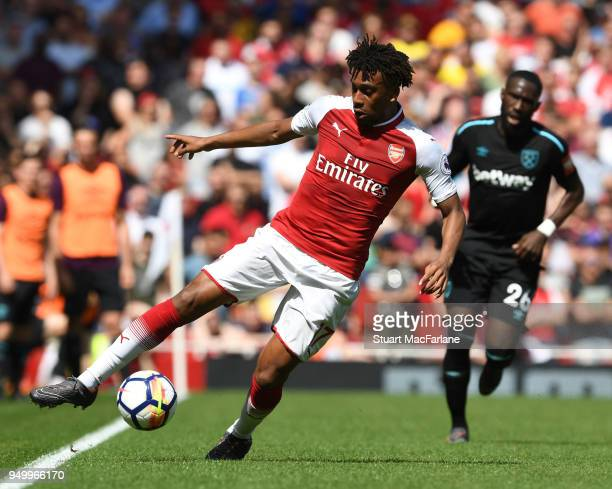 Alex Iwobi of Arsenal during the Premier League match between Arsenal and West Ham United at Emirates Stadium on April 22 2018 in London England