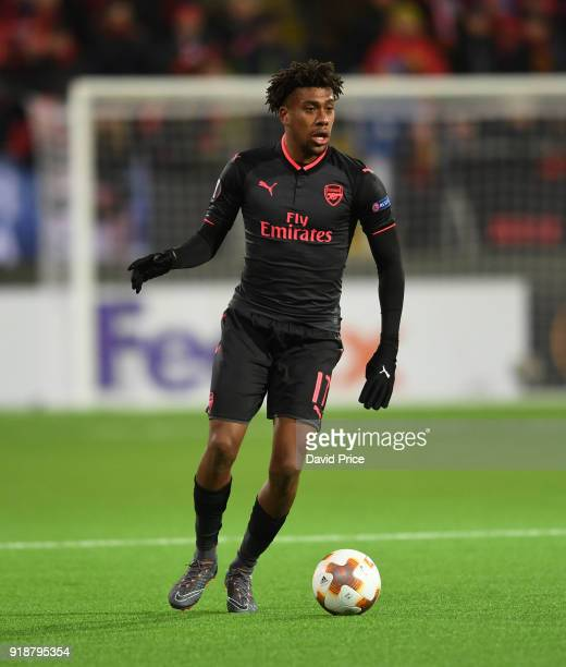 Alex Iwobi of Arsenal during UEFA Europa League Round of 32 match between Ostersunds FK and Arsenal at the Jamtkraft Arena on February 15 2018 in...