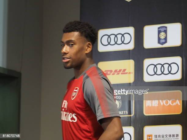 Alex Iwobi of Arsenal FC attends a press conference ahead of 2017 International Champions Cup football match between Bayern Munich and Arsenal on...