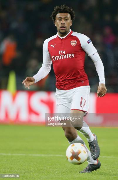 Alex Iwobi of Arsenal FC in action during the UEFA Europa League quarter final leg two match between PFC CSKA Moskva and Arsenal FC at CSKA Arena...