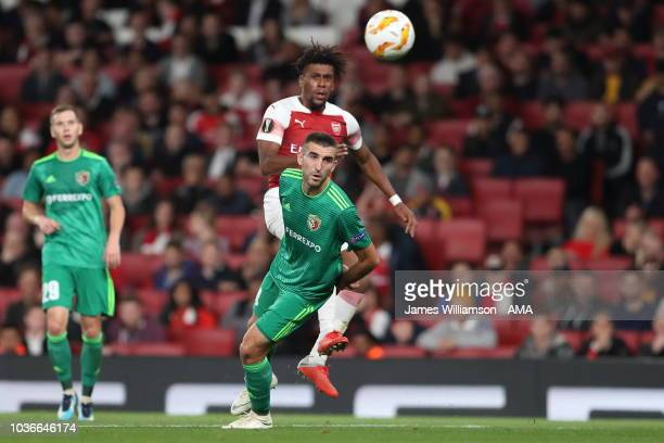Alex Iwobi of Arsenal has a shot during the UEFA Europa League Group E match between Arsenal and Vorskla Poltava at Emirates Stadium on September 20...