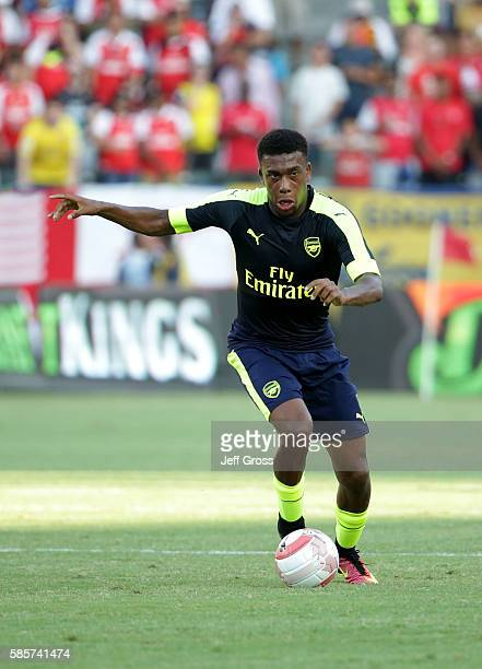 Alex Iwobi of Arsenal in action against Chivas de Guadalajara at StubHub Center on July 31 2016 in Carson California