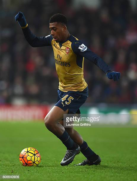 Alex Iwobi of Arsenal in action during the Barclays Premier League match between Stoke City and Arsenal at The Britannia Stadium on January 17, 2016...