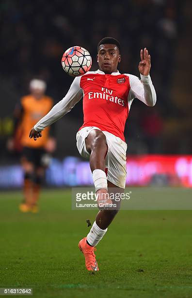 Alex Iwobi of Arsenal in action during the Emirates FA Cup Fifth Round Replay match between Hull City and Arsenal at KC Stadium on March 8 2016 in...