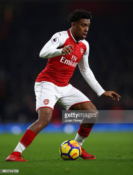 Alex Iwobi of Arsenal in action during the Premier League match between Arsenal and Manchester United at Emirates Stadium on December 2 2017 in...