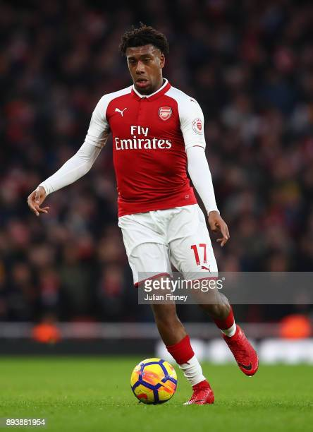 Alex Iwobi of Arsenal in action during the Premier League match between Arsenal and Newcastle United at Emirates Stadium on December 16 2017 in...