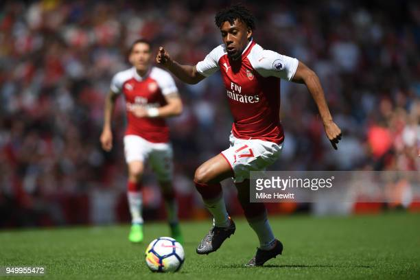 Alex Iwobi of Arsenal in action during the Premier League match between Arsenal and West Ham United at Emirates Stadium on April 22 2018 in London...