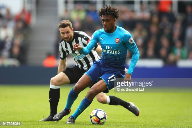Alex Iwobi of Arsenal in action during the Premier League match between Newcastle United and Arsenal at St James Park on April 15 2018 in Newcastle...