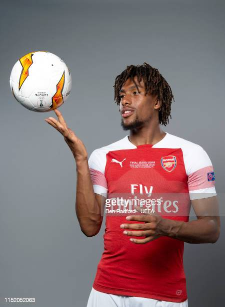 Alex Iwobi of Arsenal poses for a photo during the Arsenal Europa League Final Media Day at London Colney on May 21, 2019 in St Albans, England.
