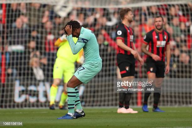 Alex Iwobi of Arsenal reacts after missing a chance during the Premier League match between AFC Bournemouth and Arsenal FC at Vitality Stadium on...