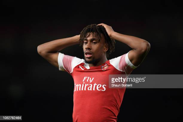 Alex Iwobi of Arsenal reacts during the Premier League match between Arsenal FC and Leicester City at Emirates Stadium on October 22 2018 in London...
