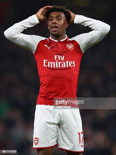 Alex Iwobi of Arsenal reacts during the Premier League match between Arsenal and Manchester United at Emirates Stadium on December 2 2017 in London...
