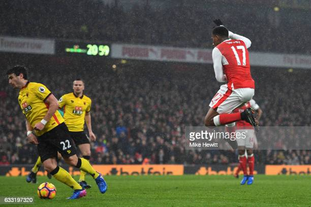 Alex Iwobi of Arsenal scores his side's first goal during the Premier League match between Arsenal and Watford at Emirates Stadium on January 31,...