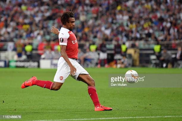 Alex Iwobi of Arsenal scores his team's first goal during the UEFA Europa League Final between Chelsea and Arsenal at Baku Olimpiya Stadionu on May...