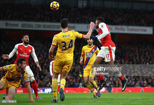 Alex Iwobi of Arsenal scores his team's second goal during the Premier League match between Arsenal and Crystal Palace at the Emirates Stadium on...