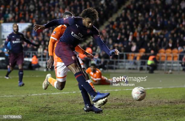Alex Iwobi of Arsenal scores his team's third goal during the FA Cup Third Round match between Blackpool and Arsenal at Bloomfield Road on January 5...