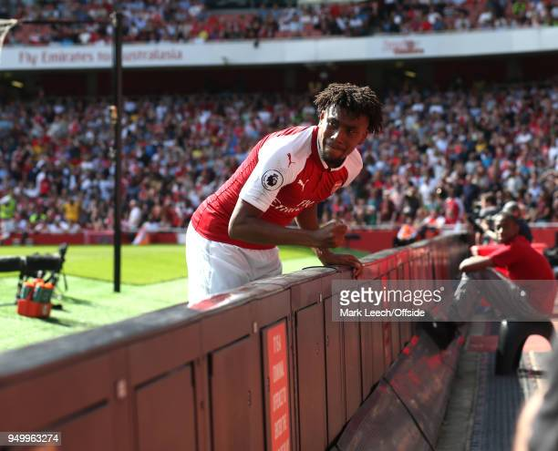 Alex Iwobi of Arsenal shows his frustration during the Premier League match between Arsenal and West Ham United at Emirates Stadium on April 22 2018...