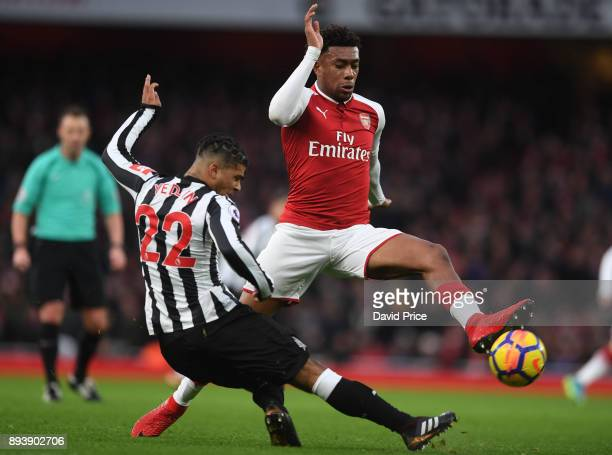 Alex Iwobi of Arsenal under pressure DeAndre Yedlin of Newcastle during the Premier League match between Arsenal and Newcastle United at Emirates...