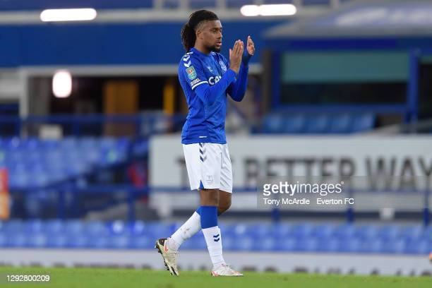 Alex Iwobi of Everton applauds the Everton fans after the Carabao Cup Quarter Final match between Everton and Manchester United at Goodison Park on...