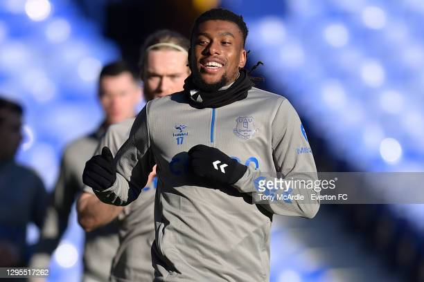 Alex Iwobi of Everton before the FA Cup Third Round match between Everton and Rotherham United at Goodison Park on January 9 2021 in Liverpool,...