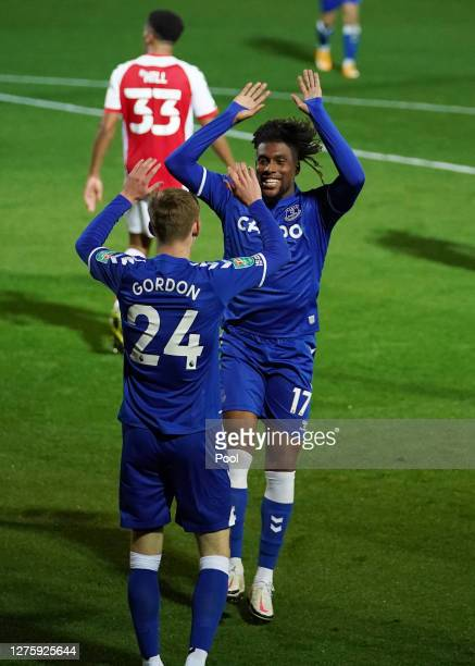 Alex Iwobi of Everton celebrates after scoring his sides third goal during the Carabao Cup third round match between Fleetwood Town and Everton at...