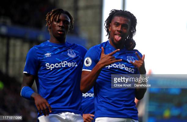 Alex Iwobi of Everton cscores his teams second goal during the Premier League match between Everton FC and Wolverhampton Wanderers at Goodison Park...