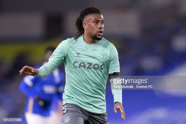 Alex Iwobi of Everton during the Premier League match between Brighton and Hove Albion and Everton at the American Express Community Stadium on April...