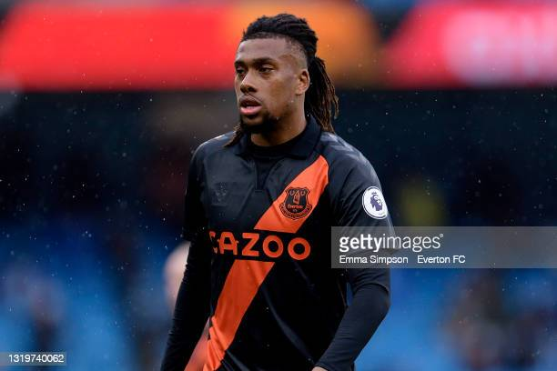 Alex Iwobi of Everton during the Premier League match between Manchester City and Everton at the Etihad Stadium on May 23, 2021 in Manchester,...