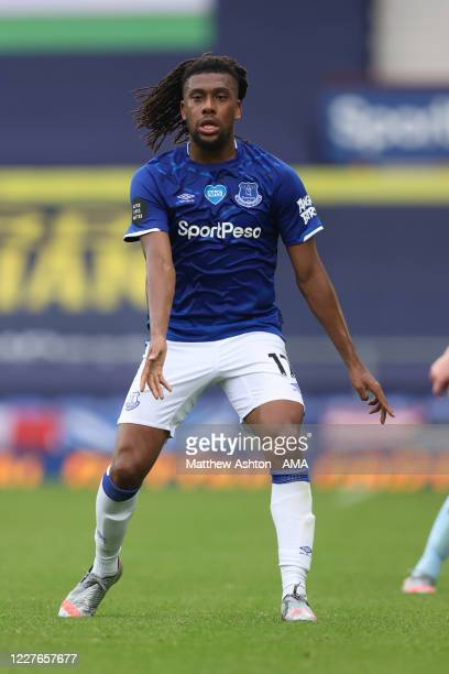 Alex Iwobi of Everton during the Premier League match between Everton FC and Aston Villa at Goodison Park on July 16 2020 in Liverpool United Kingdom...