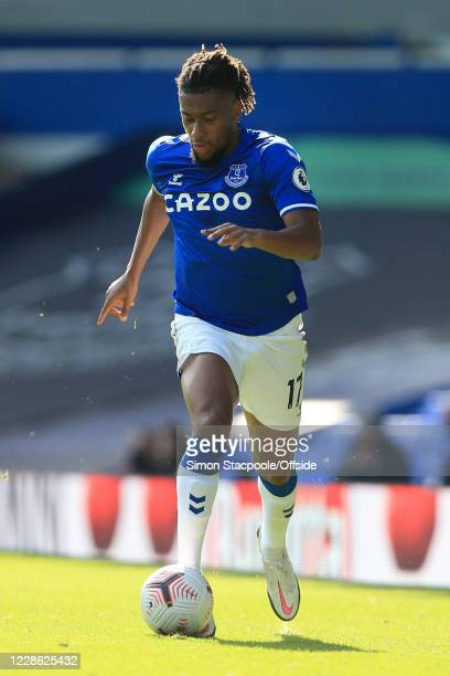 Alex Iwobi of Everton in action during the Premier League match between Everton and West Bromwich Albion at Goodison Park on September 19 2020 in...