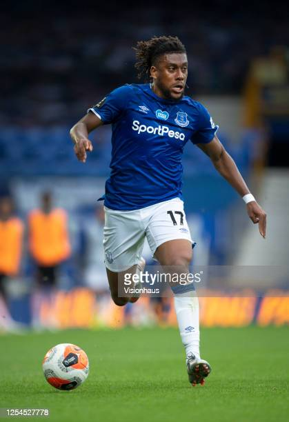 Alex Iwobi of Everton in action during the Premier League match between Everton FC and Leicester City at Goodison Park on July 1 2020 in Liverpool...