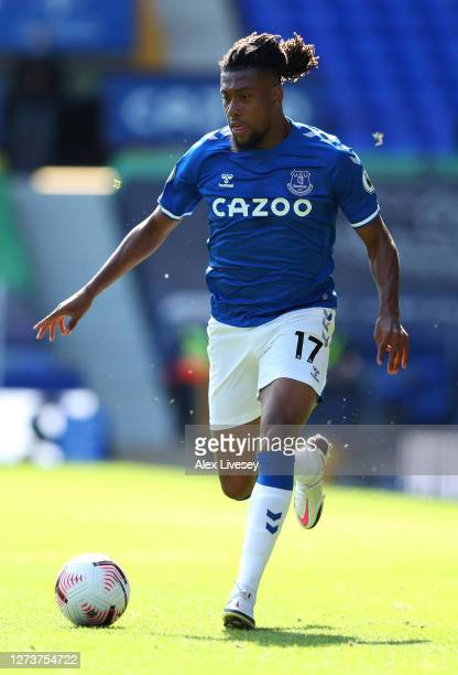 Alex Iwobi of Everton runs with the ball during the Premier League match between Everton and West Bromwich Albion at Goodison Park on September 19...