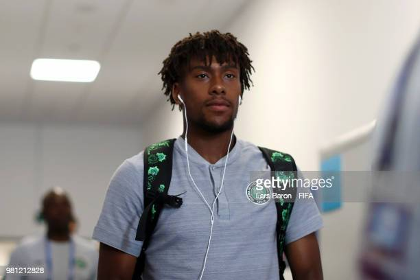 Alex Iwobi of Nigeria arrives at the stadium prior to the 2018 FIFA World Cup Russia group D match between Nigeria and Iceland at Volgograd Arena on...