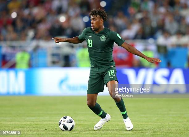 Alex Iwobi of Nigeria controls the ball during the 2018 FIFA World Cup Russia group D match between Croatia and Nigeria at Kaliningrad Stadium on...