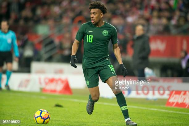 Alex Iwobi of Nigeria controls the ball during the international friendly match between Poland and Nigeria at Wroclaw Stadium in Wroclaw Poland on...