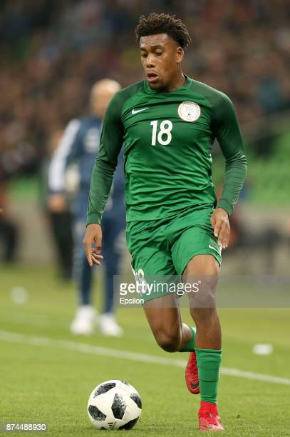 Alex Iwobi of Nigeria drives the ball during an international friendly match between Argentina and Nigeria at Krasnodar Stadium on November 14 2017...