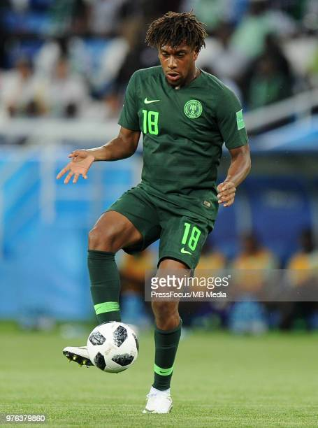 Alex Iwobi of Nigeria during the 2018 FIFA World Cup Russia group D match between Croatia and Nigeria at Kaliningrad Stadium on June 16 2018 in...