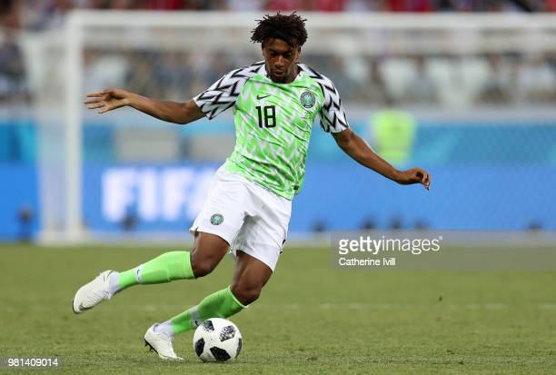 Alex Iwobi of Nigeria during the 2018 FIFA World Cup Russia group D match between Nigeria and Iceland at Volgograd Arena on June 22, 2018 in...