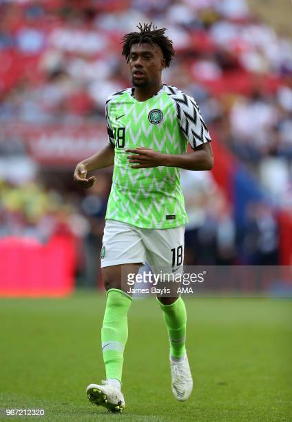 Alex Iwobi of Nigeria during the International Friendly between England and Nigeria at Wembley Stadium on June 2 2018 in London England