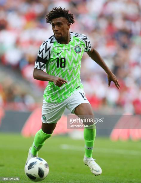 Alex Iwobi of Nigeria during the International Friendly match between England and Nigeria at Wembley Stadium on June 2 2018 in London England