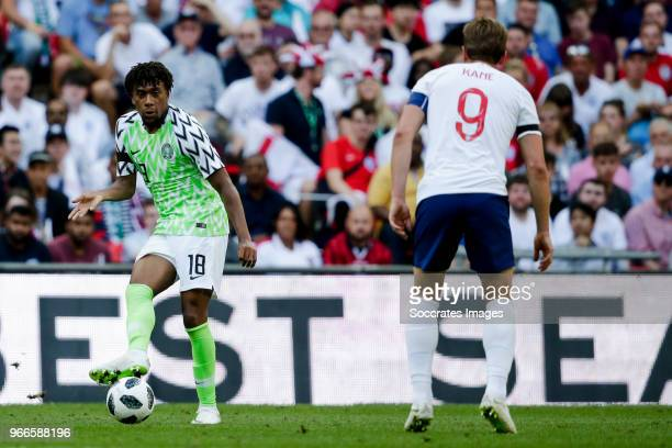 Alex Iwobi of Nigeria Harry Kane of England during the International Friendly match between England v Nigeria at the Wembley Stadium on June 2 2018...