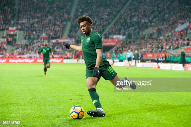 Alex Iwobi of Nigeria kicks the ball during the international friendly match between Poland and Nigeria at Wroclaw Stadium in Wroclaw Poland on March...