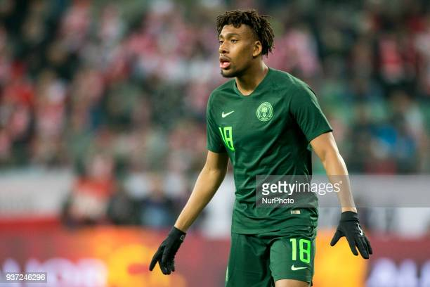 Alex Iwobi of Nigeria pictured during the international friendly match between Poland and Nigeria at Wroclaw Stadium in Wroclaw Poland on March 23...