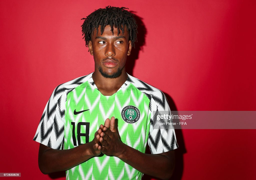 Alex Iwobi of Nigeria poses during the official FIFA World Cup 2018 portrait session on June 12, 2018 in Yessentuki, Russia.