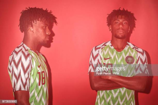 Alex Iwobi of Nigeria poses during the official FIFA World Cup 2018 portrait session at on June 12 2018 in Yessentuki Russia